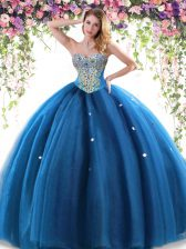 Customized Floor Length Ball Gowns Sleeveless Blue Ball Gown Prom Dress Lace Up