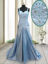 Modest Straps Sleeveless Elastic Woven Satin With Train Sweep Train Criss Cross Prom Dress in Light Blue with Beading