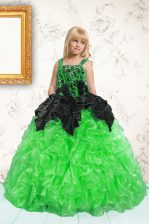 Pick Ups Ball Gowns Kids Pageant Dress Green Straps Organza Sleeveless Floor Length Lace Up