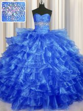 Royal Blue Lace Up Sweetheart Beading and Ruffled Layers Quinceanera Gowns Organza Sleeveless