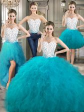Dramatic Four Piece Sleeveless Floor Length Beading and Ruffles Lace Up Sweet 16 Quinceanera Dress with White and Teal