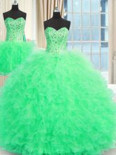 Three Piece Sleeveless Tulle Floor Length Lace Up Sweet 16 Dresses in Apple Green with Beading and Ruffles