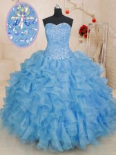 Blue Sleeveless Organza Lace Up Ball Gown Prom Dress for Military Ball and Sweet 16 and Quinceanera