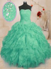 Organza Sleeveless Floor Length Quince Ball Gowns and Beading and Ruffles and Ruching