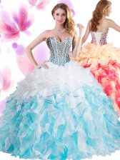 Luxury Organza Sweetheart Sleeveless Lace Up Beading and Ruffles 15th Birthday Dress in Blue And White