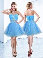 Blue A-line Organza Sweetheart Sleeveless Beading and Ruching Mini Length Lace Up