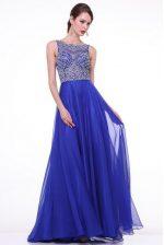Pretty Royal Blue Bateau Zipper Beading and Ruching Prom Gown Brush Train Sleeveless