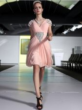 High Quality Sleeveless Knee Length Beading Zipper Dress for Prom with Peach