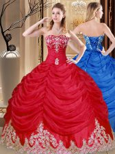 New Style Floor Length Coral Red Quinceanera Dress Tulle Sleeveless Appliques and Pick Ups