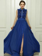 Sleeveless Chiffon With Brush Train Zipper Dress for Prom in Blue with Appliques