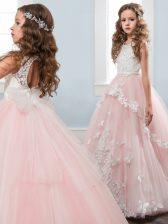 Baby Pink Ball Gowns Scoop Sleeveless Tulle Floor Length Zipper Hand Made Flower Little Girls Pageant Gowns