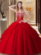 Red Sweet 16 Dresses Military Ball and Sweet 16 and Quinceanera with Embroidery Sweetheart Sleeveless Lace Up
