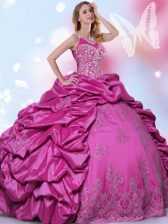 Traditional Halter Top Sleeveless Quince Ball Gowns Floor Length Beading and Lace and Appliques and Pick Ups Fuchsia Taffeta