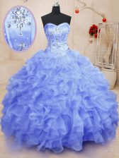 Customized Light Blue Sweet 16 Dress Military Ball and Sweet 16 and Quinceanera with Beading and Ruffles Sweetheart Sleeveless Lace Up