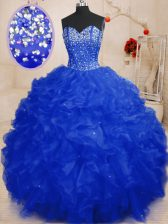 Royal Blue Sleeveless Organza Lace Up Quinceanera Dress for Military Ball and Sweet 16 and Quinceanera