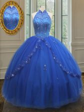Smart High Neck See Through Floor Length Lace Up 15th Birthday Dress Royal Blue for Military Ball and Sweet 16 and Quinceanera with Beading and Appliques