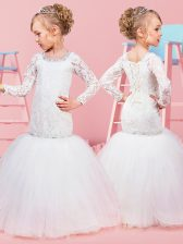 Scoop White Ball Gowns Beading and Lace Toddler Flower Girl Dress Lace Up Tulle Long Sleeves Floor Length