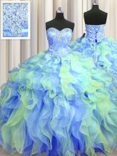 Multi-color Ball Gowns Beading and Appliques and Ruffles Vestidos de Quinceanera Lace Up Organza Sleeveless Floor Length