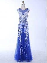 Royal Blue Mermaid Scoop Sleeveless Chiffon Floor Length Backless Beading and Appliques Prom Party Dress