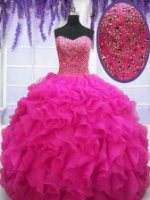 High Class Sleeveless Beading and Ruffles Lace Up 15th Birthday Dress