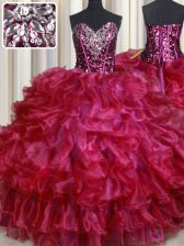 Glamorous Hot Pink Sweetheart Neckline Beading and Ruffles Quince Ball Gowns Sleeveless Lace Up