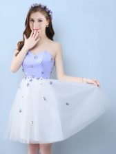 Ideal Sweetheart Sleeveless Tulle Quinceanera Court of Honor Dress Appliques Lace Up