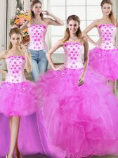 Custom Fit Four Piece Tulle Sleeveless Floor Length 15th Birthday Dress and Beading and Appliques and Ruffles