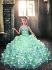Romantic Apple Green Lace Up Spaghetti Straps Beading and Appliques Flower Girl Dresses Organza Sleeveless