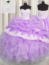 Sweetheart Sleeveless 15 Quinceanera Dress Floor Length Beading and Appliques and Ruffles and Pick Ups Lilac Organza