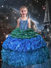 Latest Blue Organza Lace Up Spaghetti Straps Sleeveless Floor Length Little Girl Pageant Gowns Beading and Ruffles and Pick Ups