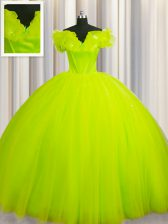 Off The Shoulder Ruching Quinceanera Gowns Yellow Green Lace Up Short Sleeves With Train Court Train