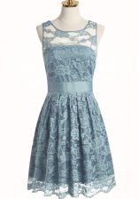 Edgy A-line Dress for Prom Light Blue Scoop Lace Sleeveless Knee Length Zipper