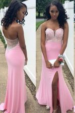Super Mermaid Rose Pink Sleeveless Floor Length Beading Backless Prom Gown