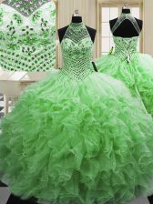 Flare Tulle Lace Up Halter Top Sleeveless Floor Length Ball Gown Prom Dress Beading and Ruffles