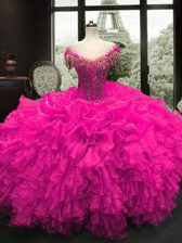 Classical Fuchsia Lace Up Sweetheart Beading and Ruffles 15 Quinceanera Dress Organza Cap Sleeves