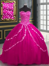 Sexy Sweetheart Sleeveless Quinceanera Dresses With Brush Train Beading and Appliques Fuchsia Tulle
