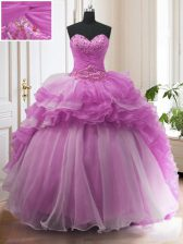 Lilac Sleeveless Sweep Train Beading and Ruffled Layers With Train Vestidos de Quinceanera