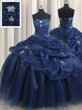 Dynamic Navy Blue Lace Up Sweetheart Appliques and Pick Ups Sweet 16 Dress Organza Sleeveless