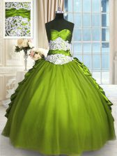 Olive Green Sweet 16 Dresses Military Ball and Sweet 16 and Quinceanera with Beading and Lace and Appliques and Ruching Sweetheart Sleeveless Lace Up