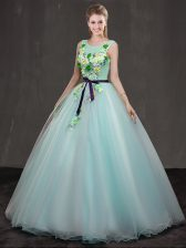 Scoop Appliques Quinceanera Gowns Apple Green Lace Up Sleeveless Floor Length
