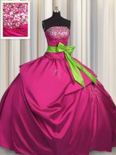 Strapless Sleeveless Satin Sweet 16 Dress Beading and Ruching and Bowknot Lace Up