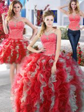 Affordable Three Piece White and Red Sweetheart Lace Up Beading Quince Ball Gowns Sleeveless