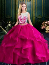 Scoop With Train Lace Up Sweet 16 Dress Fuchsia for Military Ball and Sweet 16 and Quinceanera with Lace and Ruffles Brush Train
