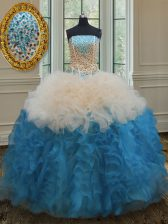 Multi-color Quinceanera Dress Military Ball and Sweet 16 and Quinceanera with Beading and Ruffles Strapless Sleeveless Lace Up