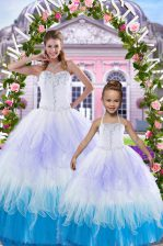 Edgy Sleeveless Lace Up Floor Length Beading Sweet 16 Quinceanera Dress