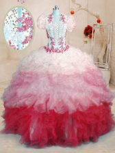 Brush Train Ball Gowns 15 Quinceanera Dress Multi-color Sweetheart Organza Sleeveless With Train Lace Up