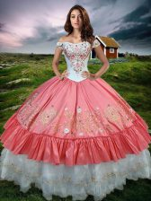 Ruffled Off The Shoulder Sleeveless Lace Up Quince Ball Gowns Watermelon Red Organza and Taffeta