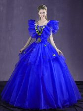 Royal Blue Ball Gowns Organza Sweetheart Sleeveless Appliques and Ruffles Floor Length Lace Up Ball Gown Prom Dress