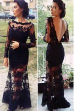 Beauteous Scalloped Floor Length Black Prom Dress Organza Long Sleeves Lace