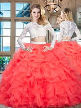 Red Scoop Neckline Beading and Lace and Ruffles Ball Gown Prom Dress Long Sleeves Zipper